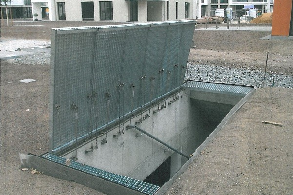 Gas Springs open Gratings to Underground Parking